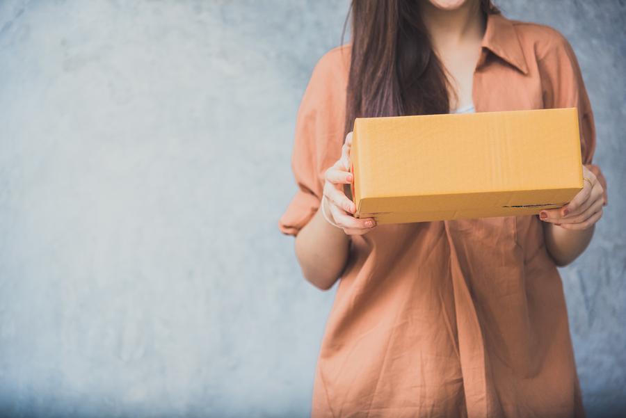 woman holding package